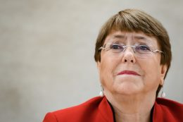 United Nations High Commissioner for Human Rights Michelle Bachelet attends the opening of the UN Human Rights Council's main annual session on February 24, 2020 in Geneva. (Photo by Fabrice COFFRINI / AFP)